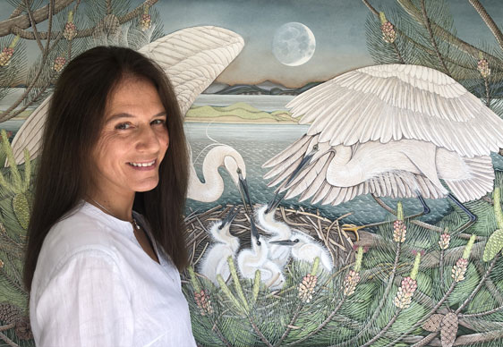 Irish Artist Poppy Melia with Swans Painting