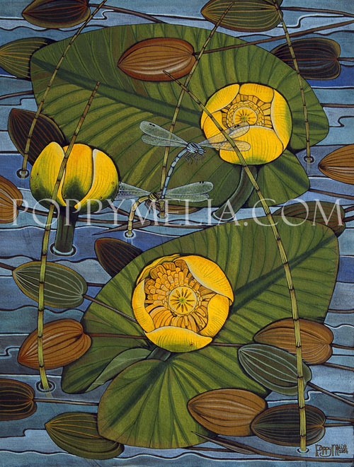 Yellow Water Lilies and DamselFlies Painting by Poppy Melia